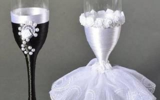 Варианты украшения свадебных бокалов. Украшение бокалов на свадьбу. Фото и видео МК